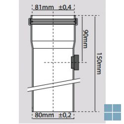 Bulex verlengstuk alu m meetnippel Ø 80 x 150 | 0020087419 | LAMO