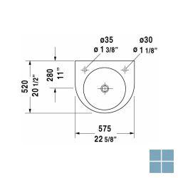 Dur. architec wandhangend , kraangat rechts 57.5x52 cm wit keramiek | 0449580008 | LAMO