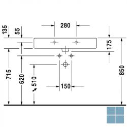 Dur. vero wandhangend , 3 kraangaten, 80x47 cm wit keramiek | 0454800030 | LAMO