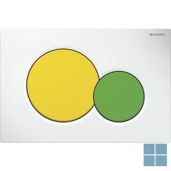 Geberit duwplaat sigma01, 2 toetsen, wit/grote toets geel, kleine toets groen | 115.770.LA.5 | LAMO