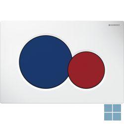 Geberit duwplaat sigma01, 2 toetsen, wit/grote toets blauw, kleine toets rood | 115.770.LB.5 | LAMO