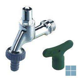 Schlosser dubbeldienstkraan chrome mat 1/2 m met sleutelbediening   17331550001   LAMO