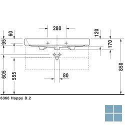 Dur. happy d.2 wandhangend , 1 kraangat 100x50.5 cm wit keramiek | 2318100000 | LAMO