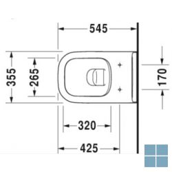 Dur. d-code hangtoilet 54.5x35.5 cm rimless wit keramiek | 25700900002 | LAMO