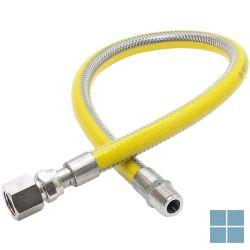 Inox gasflexibel met gele pvc 1/2mf lengte 750 mm   2650.15.0750   LAMO