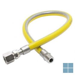 Inox gasflexibel met gele pvc 1/2mf lengte 2000 mm   2650.15.2000   LAMO