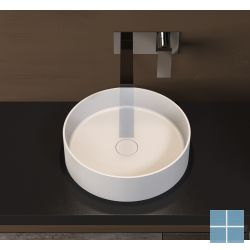 Ideavit solidthin opzetkom ø 400×h125mm, solid surface wit mat, geen overloop   281617   LAMO