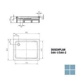 Kaldewei duschplan model 544-1 douchetub rechthoek 90x80x6,5 cm wit | 440400010001 | LAMO