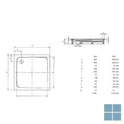 Kaldewei superplan model 386-1 douchetub vierkant 80x80x2,5 cm wit   447500010001   LAMO