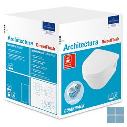 V&b architectura directflush compact hangtoilet softclosezit ting wit keramiek | 4687HR01 | LAMO