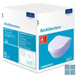 V&b architectura hangtoilet +softclosezitting 37x53 cm wit ceramicplus keramiek | 5684H1R1 | LAMO