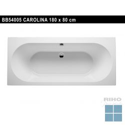 Riho carolina inbouw bad acryl hgglns wit, duo 180x80cm / 210l, excl. ptn/sfn | BB54005 | LAMO