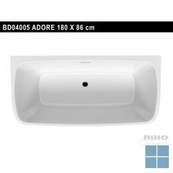 Riho adore b2w half vrijstaand bad acryl wit, duo 180x84cm + poten & badafv. chrm | BD04005 | LAMO