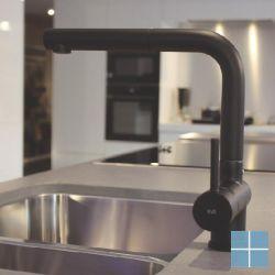 Kvr techno keukenmengkraan uittrekb. uitloop mat zwart | D10.3719.83 | LAMO