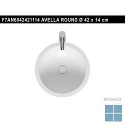 Riho avella round solid surface opbouwwastafel die 42cm mat wit | F7AN6042421114 | LAMO