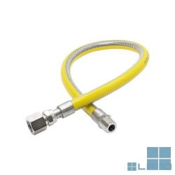 Inox gasflexibel met gele pvc 3/4mf lengte 500 mm   GASFL34   LAMO
