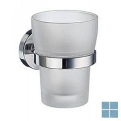 Smedbo home bekerhouder chroom/mat glas | HK343 | LAMO