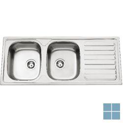 Kvr pack spoeltafel 2 bakken + keukenkraan typo chroom (os)   KVRPACK20   LAMO