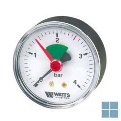 Watts manometer 0-4kg onderraansluiting met groen veld 1/4 | MGV | LAMO
