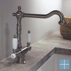 Kvr retro 2-greeps keukenmengkraan nikkel mat | R10.1912.32 | LAMO