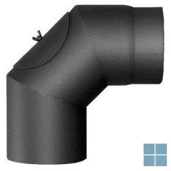 Stalen beweegbare schouwelleboog met kijkdeur 90° dia 130 mm | SC130 | LAMO