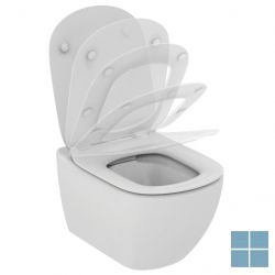 Is tesi rimless hangtoilet+softclose dunne zitting 53.5x36.5 cm wit keramiek | T355101 | LAMO