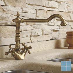 Kvr retro 2-greeps keukenmengkraan oud brons | V1910VB | LAMO